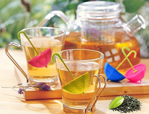 Tea Bag Infuser-Senbowe™ 3 Pack Colorful Genuine Premium Silicone Umbrella Reusable Tea Ball Infuser Strainer Steeper Set for Loose Leaves & Herbal Teas-Great Gift for Tea Lovers by senbowe (Image #3)
