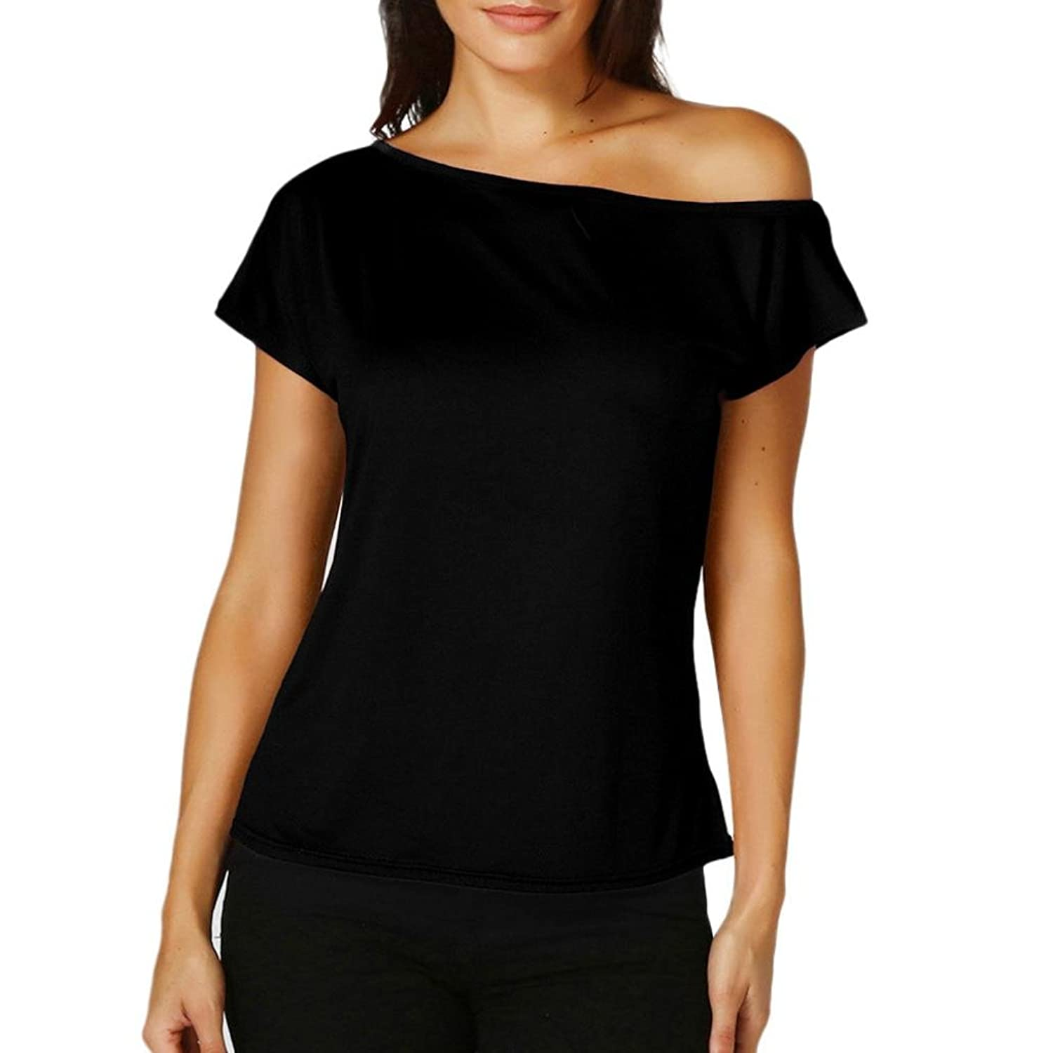 Amazon.com: Blouses for Womens, FORUU Laides One Shoulder Short Sleeve Solid Tops T Shirts: Clothing