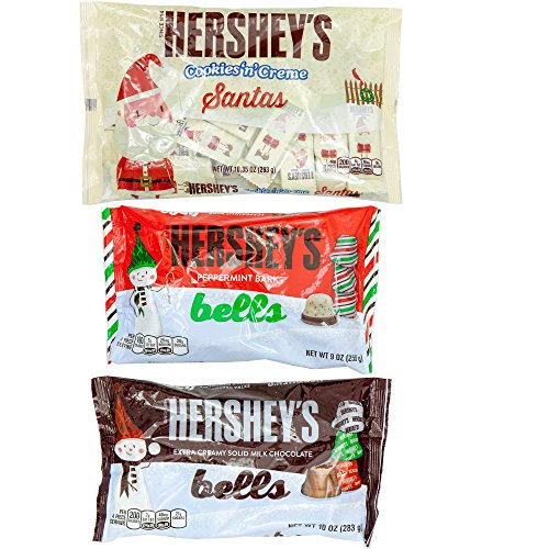 Hershey Cookies N Creme Peppermint Back Bells Extra Creamy Solid Milk Chocolate Bells | Christmas Valentine Easter Birthday Holiday Gift | Set of 3, 10 Oz Each