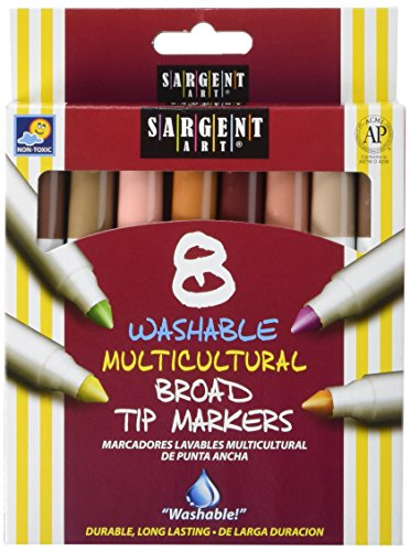 Sargent Art Multi-Ethnic Washable Markers, Broad Tip, Assorted Skin Tone Colors, Pack of 8