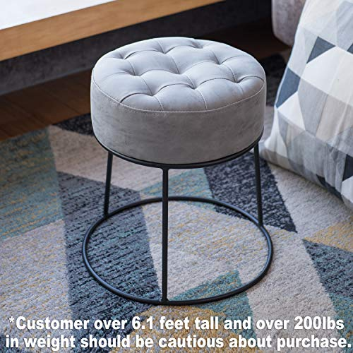 - Art-Leon Small Round Ottoman Stackable Footstool Leather Pouf Ottoman Foot Rest for Living Room,Vanity,Dorm,Apartment, Light Gray
