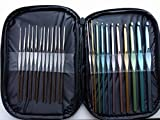 Crochet Hooks 23 pcs set with bag and letter sizes (black)
