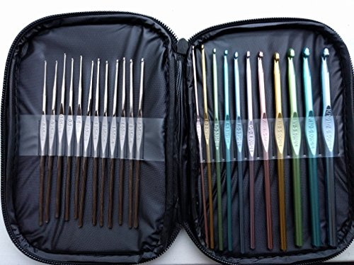 KiwiVine Crochet Hooks 23 pcs Set with Bag and Letter Sizes