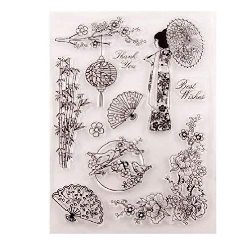 - Welcome to Joyful Home 1pc Oriental Element Lady Rubber Clear Stamp for Card Making Decoration and Scrapbooking