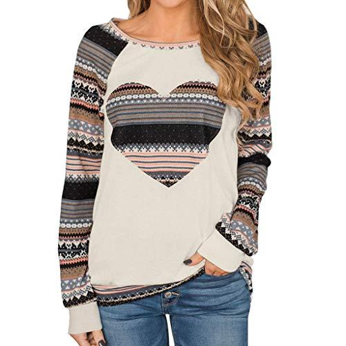 〓COOlCCI〓Women's Fashion Sweatshirts,Women Long Sleeve Round Neck Floral Heart Print Patchwork Tunic Sweatshirt Tops Khaki