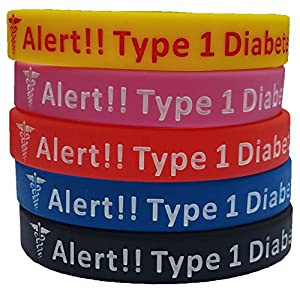 Type 1 Diabetes Bracelets Silicone Medical Alert Wristbands (Pack of 5) Blue, Yellow, Red, Black, Pink