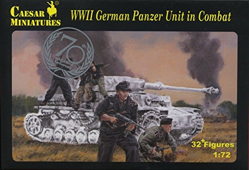 - Caesar Miniatures - Set# 085 WWII German Panzer Unit in Combat 32+ Figures 1/72 Scale Plastic Toy Soldiers