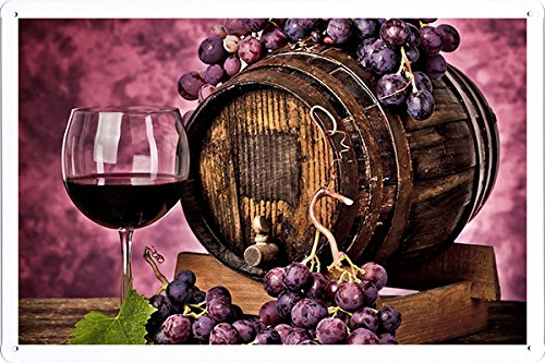 Grapes Barrel Wine Wine Glass Tin Poster Food  Beverage Decor Sign