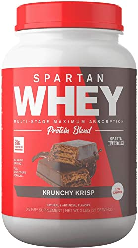 Spartan Whey Protein Powder. Best Prices and Highest Rated Blend, Delicious Protein Isolate, Concentrate, and Micellar Casein Blend with AstraGin for Amino Acid Absorption. Krunchy Krisp 2 lbs
