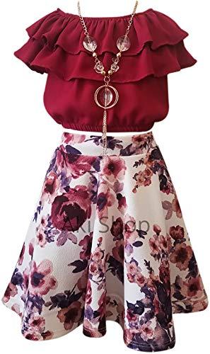 - Cold Shoulder Crop Top Ruffle Layered Top Flower Girl Skirt Sets for Big Girl Burgundy Floral 8 JKS 2130S