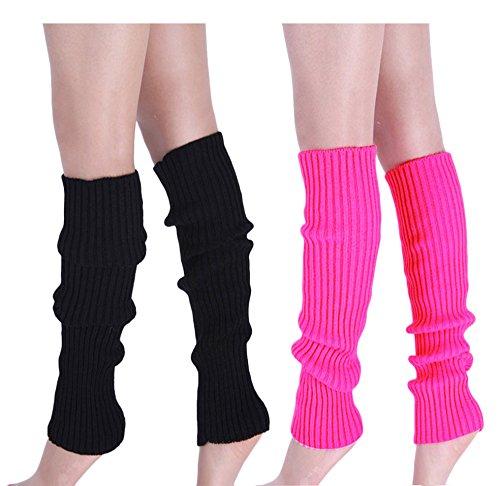 Girls Black Leg Warmer Plain Casual Dance Wearing Legwarmers
