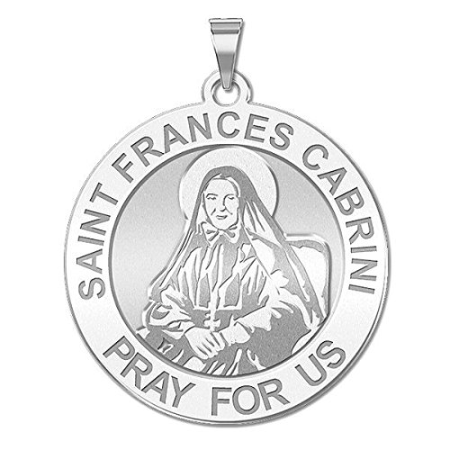 Custom Engraved Saint Frances Cabrini Religious Medal 10K And14K Yellow or White Gold, or Sterling Silver