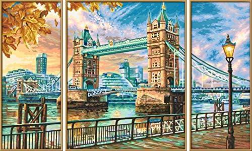 Schipper 609260752 Malen nach Zahlen, London Tower Bridge - Bilder malen für Erwachsene, inklusive Pinsel und Acrylfarben, Triptychon, 50 x 80 cm