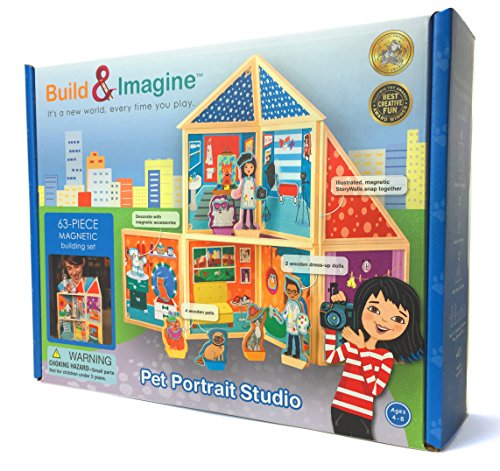 Build & Imagine: Pet Portrait Studio (magnetic building set with wooden dress-up pets)