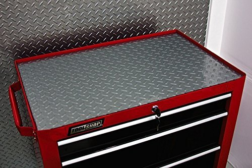 Resilia Premium Tool Box Drawer Liner - Silver Diamond Plate, 18 Inches x 25 Feet, Anti-Slip, Heavy Duty, Made in the USA