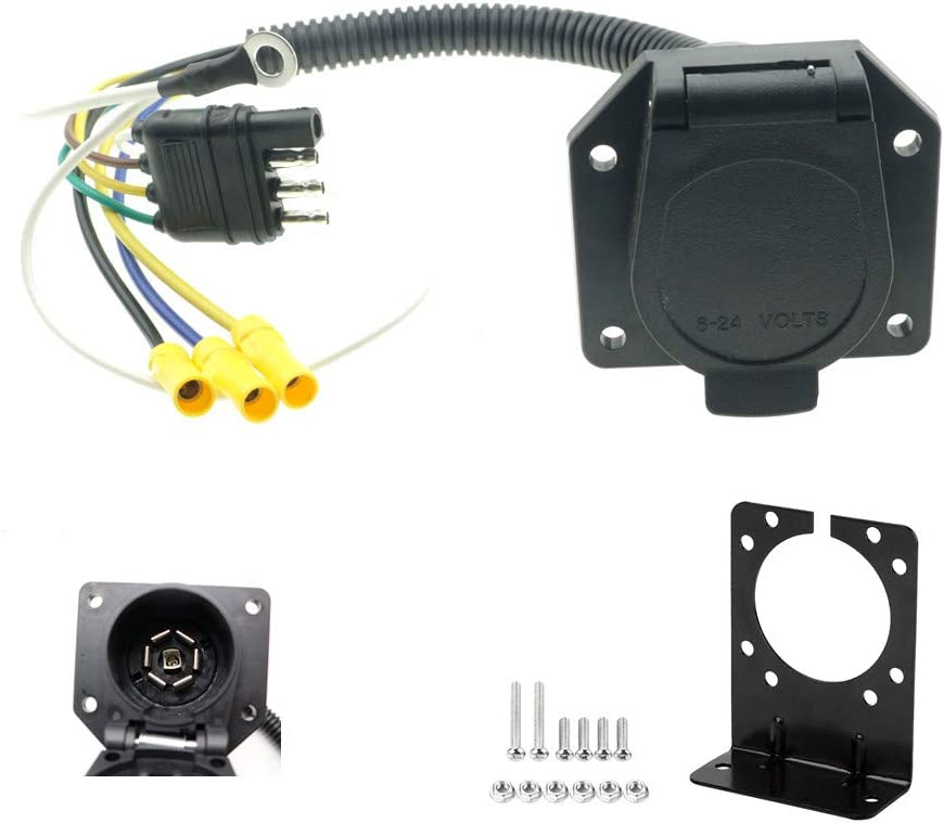 [DIAGRAM_34OR]  Amazon.com: 4 Flat to 7 Way RV Trailer Light Plug Wire Harness Converter  Adapter for Car Truck Trailer Hitch with Connector Socket Mounting Bracket:  Automotive | Light Receptacle Wiring |  | Amazon.com