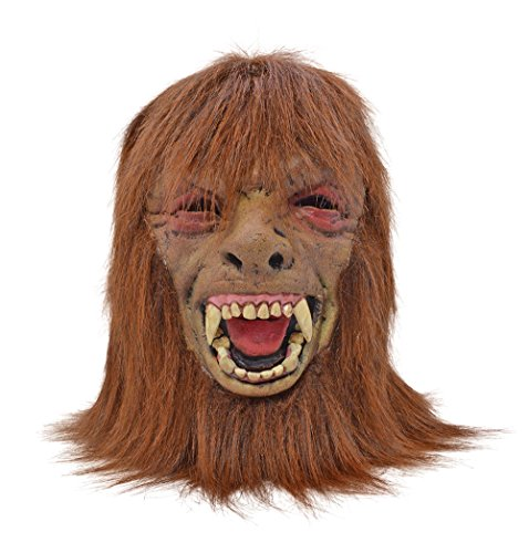 Retail Zone Men's Deluxe Brown Werewolf Foam Mask W/ Hair Teenwolf Halloween Adult One Size Multi (Teenwolf Costumes)
