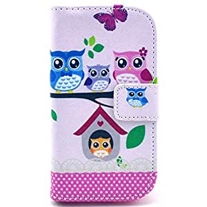 Casea Packing Colorful Owl Bird Wallet Leather Cover Case for Samsung Galaxy S Duos S7562