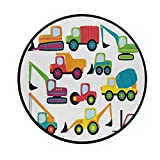 """CHASOEA Super Soft Light Round Area Rug,Cute Style Vehicles and Heavy Equipment Forklift Earthmover Excavator Mixer,Thin Circle Carpet (4'3""""Diameter)"""