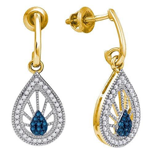 Blue Diamond Teardrop Dangle Earrings 10k Yellow Gold J Hoops Hanging Drops Fashion Style Fancy 1/4 Cttw ()