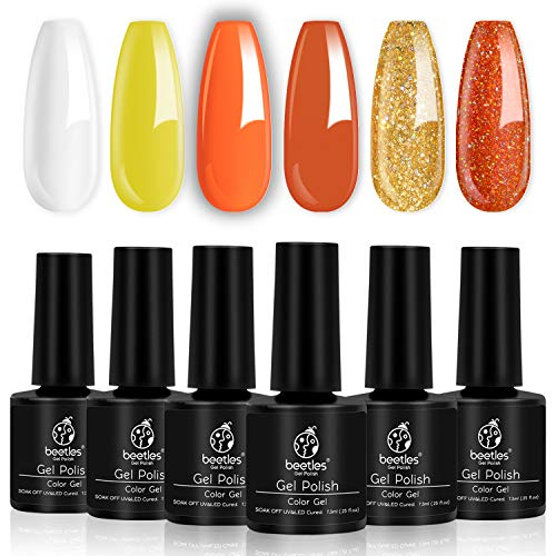 Beetles Halloween Color Gel Nail Polish Set, 6 Pcs White Glitter Gel Polish Yellow Nail Polish Gel Kit Art Design Gift Box, Soak Off UV LED Gel Nail Lamp Cured, 7.3ml Each Bottle