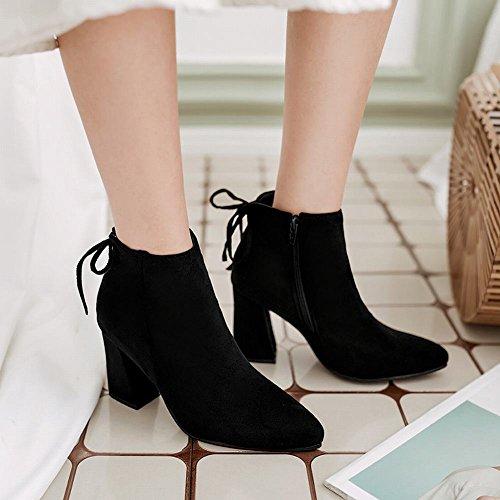 Carolbar Womens Pointed Toe Lace Up Retro Fashion Zip High Heel Boots Black drPFb