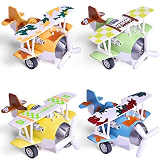 """FUN LITTLE TOYS 4 Pieces Pull Back Airplane Vehicles Toys for Boys, 4.72"""" Diecast Airplane Toys with Lights and Sounds, Airplane Party Favors, Toddler Airplane Toys"""