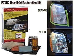 Ez4u2 Headlight Restoration Kit with UV blocker Sealer - The Best Headlight Restoration Kit in the market - Restore your Foggy Headlights like New 3 easy steps - #1 Headlight Restoration Kit used by Professional Headlight Restoration Services - Restores Y