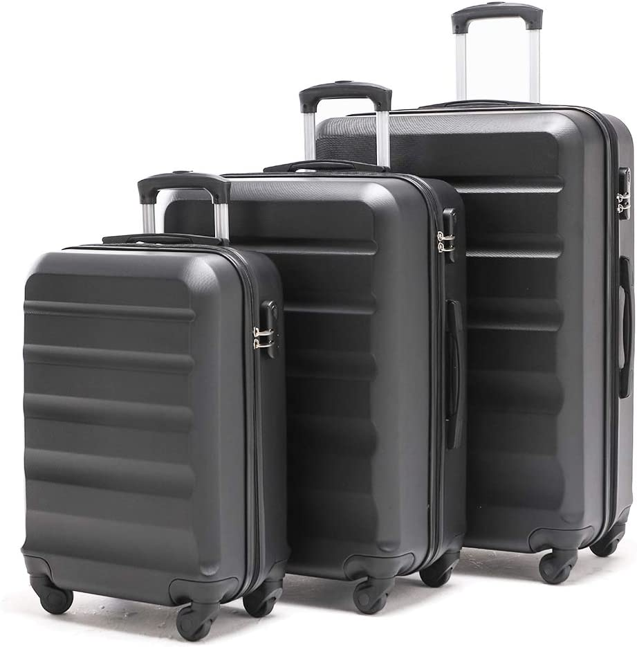 VIHEEVA Anti-scratch Hardside Spinner Luggage Sets Expandable only 28inch 3 Piece Set Lightweight Large suitcase Sets 24inch 20inch carry on dark black FREE RETURN