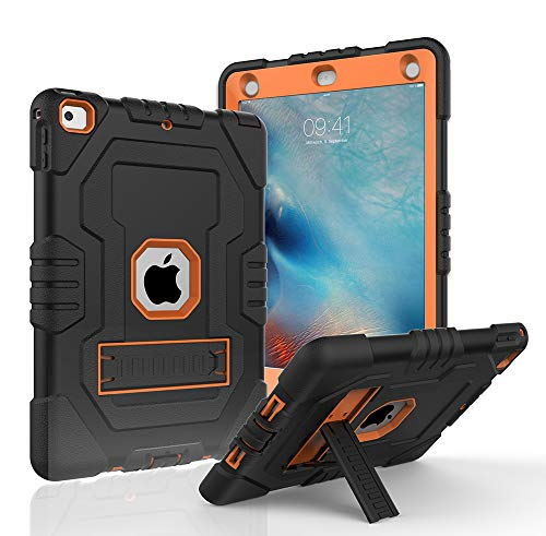 Case for iPad 9.7 2018,Case for iPad 2017 9.7,iPad 6th Generation,Digital Hutty 3 in 1 Shockproof Heavy Duty Full-Body Protective Cover with Kickstand Orange