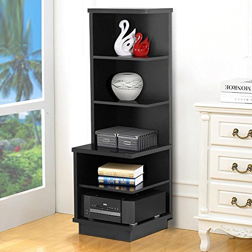 Topeakmart 5 Shelves Modern Black Finish Audio Stand Open Shelf Tall Bookcase Display Tower