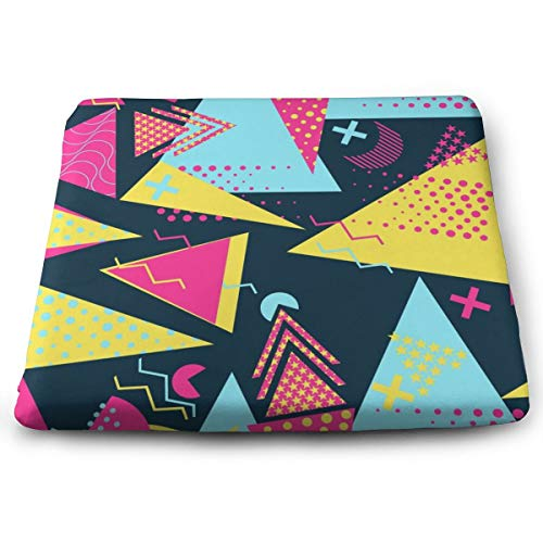Sanghing Customized Geometric Elements Memphis in The Style of 80's 1.18 X 15 X 13.7 in Cushion, Suitable for Home Office Dining Chair Cushion, Indoor and Outdoor Cushion. (Memphis Patio Furniture)