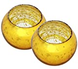 12 Days of Deals - 2pcs Crackled Glass Tealight Votive Candle Holder - Handmade Golden Centrepiece for Table Tea Light Holders - Table Top Essentials / Christmas Home Decorations & Housewarming Gifts