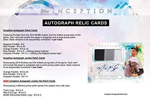 1 Autograph or Autograph Patch//Box 2019 Topps Inception Baseball 16 Box Case