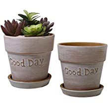 5 Inch Terracotta 'Good Day' Planters with Removable Saucers, Earthenware Flower Pots, Set of 2