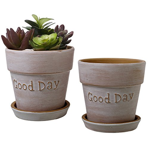 5 Inch Terracotta 'Good Day' Planters with Removable Saucers, Earthenware Flower Pots, Set of 2 (Pot Cotta Artificial Terra)