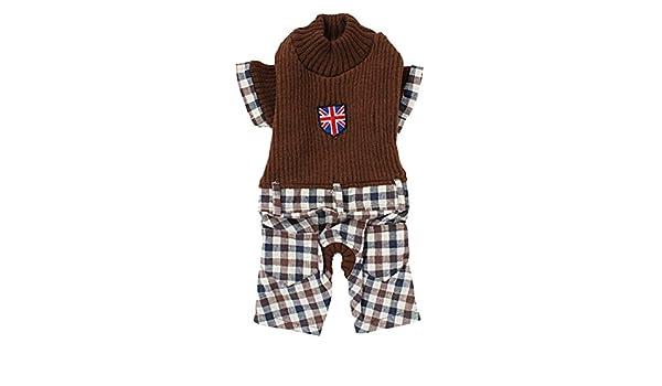 sourcingmap Mascota Perro Invierno Cálido Sweater Plaid patrón pantalones de Pelele, pequeño, café: Amazon.es: Productos para mascotas