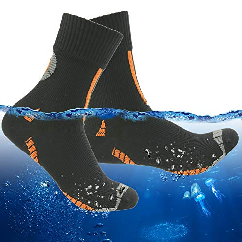 (RANDY SUN Hiking Waterproof Socks, Men's Women's Breathable Athletic Socks Protect from Rain, Mud and Snow 1 Pair (Black&Orange,Small))