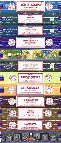 Satya Bangalore (BNG) Set of 12 Nag Champa Namaste Super Hit Neem Forest Prana Oodh Sage Cinnamon Lemongrass Rosemary Natural Sandalwood