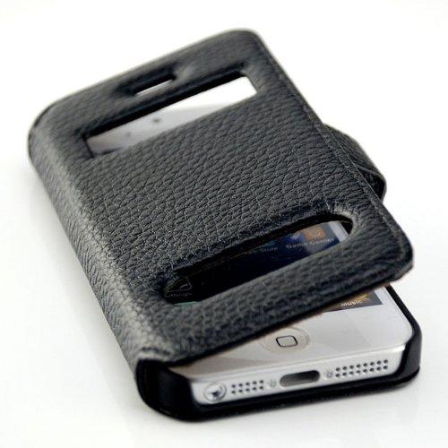 Saxonia. étui de protection pour apple iPhone 5 5S & étui portefeuille avec affichage de l'heure-case couvercle noir