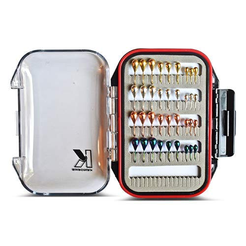 (Kenders Outdoors 36 Piece Tungsten Jig Metallic Kit with Premium Double Sided Waterproof/Floating Jig Box, Ice Fishing, Panfishing, Crappie, Trout, Bluegill, Perch Fishing Jigs)