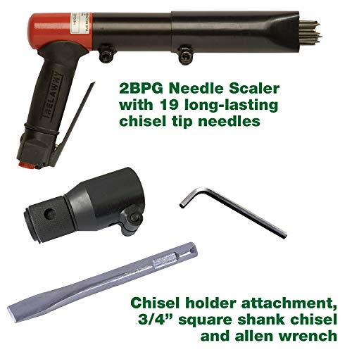 CS Unitec Needle/Chisel Scaler Combination KIT - Pistol Grip - Heavy-Duty Professional Grade (2BPG) - Pneumatic - Scaler Grip Pistol Needle