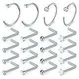 MODRSA 20G 20pcs Silver L Shape Nose Rings Studs Surgical Steel Nose Hoop Ring Nose Piercing Jewelry