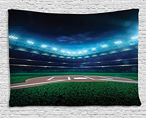 Sports Decor Tapestry by Ambesonne, Professional Baseball Field at Night with Spotlights Playground Stadium League Theme, Wall Hanging for Bedroom Living Room Dorm, 60 W X 40 L Inches, Green and (Blue Theme Room)