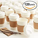 Maison Maison Hot Coffee Paper Cups With Lids - 120 MEGA Pack includes 12 Oz Disposable Cups, Snap Tight Leakproof Lids, Sleeves & Stirrers, Perfect for your Morning Coffee, Coffee Bar & Office!