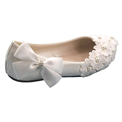 iBinGo Lace Pearl Wedding Shoes Rhinestone Bow Bridal Shoes White (Flat  Heels) (3