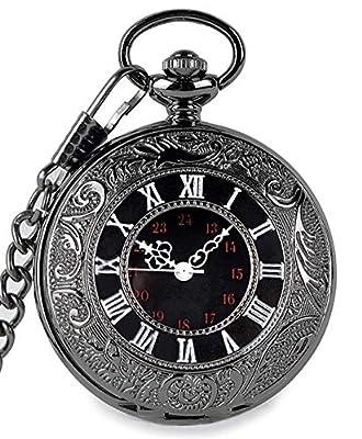 SwitchMe Vintage Quartz Pocket Watch Classic Black Roman Numerals Japan Movement with Belt Clip Chain by SwitchMe
