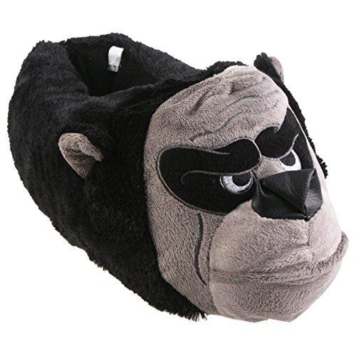 Tierhausschuhe Gorilla Tier Hausschuhe Pantoffel Puschen SchlappenKuscheltier PlüschHerren Schwarz 40-48, TH-Go Schwarz Grau