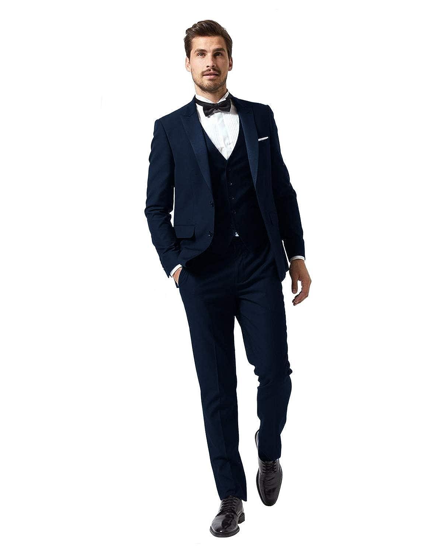 Mens 3 Piece Tuxedos Peaked Lapel Groomsmen Wedding Suit Dinner Blazer Jackets Vest/&Trousers