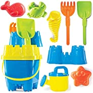 Prextex 10 Piece Beach Toys Sand Toys Set, Bucket with Sifter, Shovel, Rake, Watering Can, Animal and Castle S